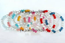 wholesale 10pcs elastic colourful crystal Glass imitated Pearl bracelets FREE