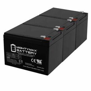 Mighty Max 12V 12Ah F2 Razor Battery fits MX500 MX650, W15128190003 - 3-Pack