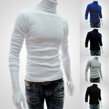 Mens Knitted Polo Roll Turtle Neck Pullover Tunic Long Sleeve Work Sweater Top