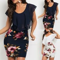 Sexy Womens Sleeveless Floral Printed Bodycon Holiday Party Short Mini Dress New