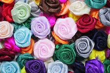 100! Large Satin Ribbon Roses - 20mm - Great Colour Mix Rose Applique!