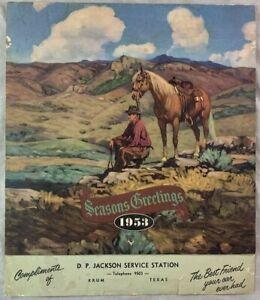 Original 1953 Calendar D.P. Jackson Service Gas Station Krum Texas Denton County