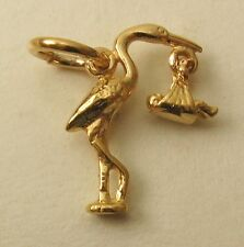GENUINE SOLID 9ct Yellow Gold 3D STORK & BABY NEWBORN BABY SHOWER CHARM/PENDANT