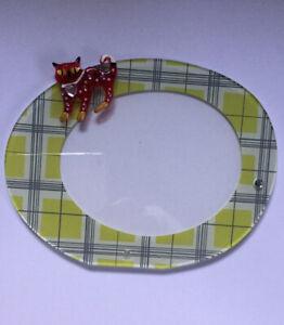 Cute Oval Acrylic Photo Frame Green Blue Plaid Detachable Red Cat Embellishment