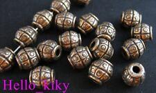 60 pcs Antiqued copper plt barrel spacer beads A285