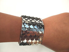 "Fashion Europe Style Fish Scale Embellished Ringent Cuff  Bracelet 2"" Width"