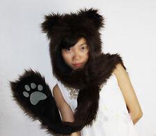 Faux Fur Full Hood Hat Long Cap scarfs mittens & paws Spirit 3 in 1 Brown Color