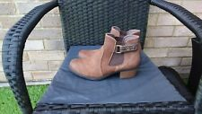 LADIES TAN NUBUCK LEATHER ANKLE BOOTS BY CLARKS SIZE 6