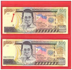 2007 PHILIPPINES 500 Peso NDS Double ERRORS --- No. Missing & No. at reverse