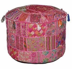 Bohemian Patch Work Ottoman Cover Vintage Indian Pouf Floor Cushion Pouffe