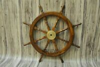 36'' LARGE Antique handmade nautical Wooden Maritime Decor Captains Ships Wheel