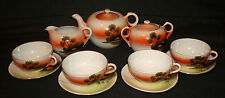 Vintage Japan Hand Painted Porcelain Cabin Sunset Teapot Creamer Sugar Tea Set
