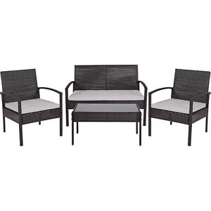 Flash Furniture Aransas Series 4 Piece Black Patio Set with Steel Frame and G...