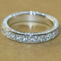 1.00 Ct Round Cut Diamond Eternity Wedding Band Ring 14k White Gold Finish