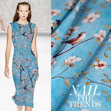 Blau Crepe De Chine Stoff Mit Weiß Blumen Vogel Muster Seidenstoffe Kleiderstoff