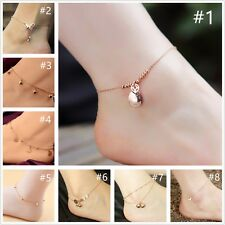Women's 18K Rose Gold GP Bell Beads Heart Charm Pendant Chain Beach Anklet Sexy