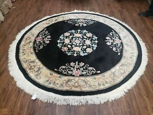6' Vintage Round Hand Made CHINESE Peking Art Deco Wool Rug Flowers 90 Line Nice