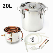 20L 5Gal Water Alcohol Wine Distiller Moonshine Still Boiler Stainless Copper US