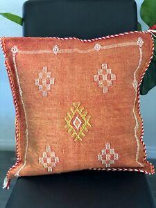 Moroccan Cactus silk rustic orange pillow cover handmade sabra cover item34