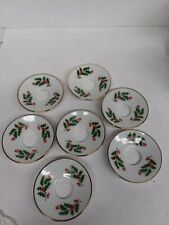 7 Beacon Hill Porcelain Napkin Candle Rings Christmas Holly Made in Japan