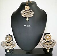 Indian Maang Tikka Earrings CZ Fashion Jewelry Wedding Traditional Pearl Set 168