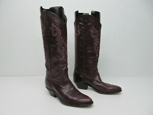 vtg Made in USA 9015 M Burgundy Leather Embroidery Western Boots Size 6.5B