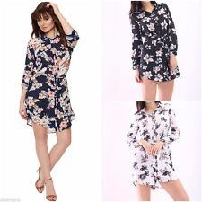 Long Sleeve Casual Floral Shirt Dresses for Women