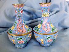 "Chinese Canton Enamel Vases Pair 5.5"""