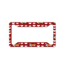 Welsh Corgi Pembroke Dog Red Paw Heart Car License Plate Frame Tag Holder 4 Hole