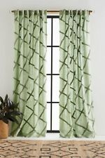 "Anthropologie Moss Green Embroidered Berea Curtain Panel 50"" x 63"" NEW $88"