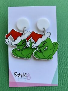 The Grinch Style Christmas Dangle Earrings, Surgical Stud, White Acrylic, Xmas