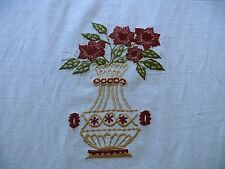 FABRICUT QUILVIO EMBROIDERED LINEN & COTTON BOUQUET RED ON NATURAL BTY (1260)