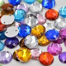50 Assorted Faceted Beads Acrylic Rhinestones Gems 10 mm Round Flat Back Sew On