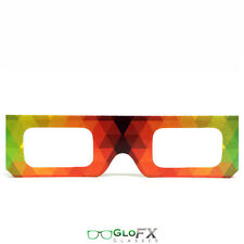 GloFX Paper Cardboard Diffraction Glasses – Geometric Rainbow 10 Pack Show Club