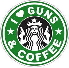 I Love Guns & Coffee Starbucks Vinyl Sticker Decal