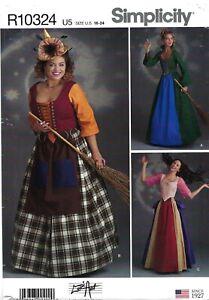 Simplicity R10324 Lace-Up Front & Back Bodice, Skirts, Apron Sz 16-24 UNCUT 8720