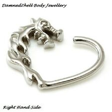 SURGICAL STEEL DRAGON DAITH HEART RING ~ 1.2mm (16g) HELIX, EAR FOR LEFT SIDE
