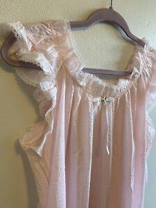 Miss Elaine Women's Nightgown Long Large Pink Vintage Feminine