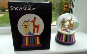"House Of Fraser LARGE Musical Rudolf & Ted  Snow Globe Approx 6.5"" high. IN BOX"