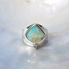 Boulderopal Ring, 925er Silber, Edelsteinring (21085), Opal, mit Brillant