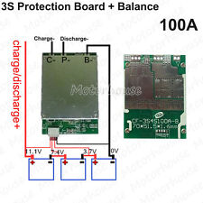 3S 100A 12v Lithium Li-ion Battery Cell BMS Protection Board Circuit w/ Balance