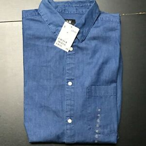 H&M 100% COTTON MENS CASUAL DENIM REGULAR FIT DESIGNER SHIRT SIZE: MEDIUM *NWT*