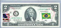 Paper Money US Bank Notes Federal Reserve Two Dollar Bill $2 Stamped Flag Brazil
