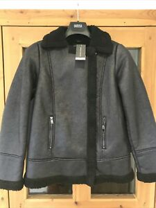 Dorothy Perkins Black Faux suede & fur zip fastening bomber jacket  size 12