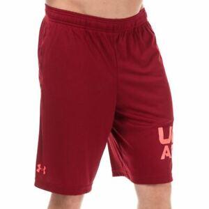 Men's Under Armour Tech Wordmark Moisture Wicking Shorts in Red
