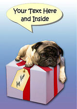 PERSONALISED FAWN PUG DOG BIRTHDAY CHRISTMAS etc CARD + illustrated insert