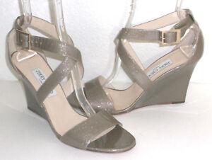$750 NIB Jimmy Choo Fearne Glitter Beige Patent Leather Wedge Sandals 40.5