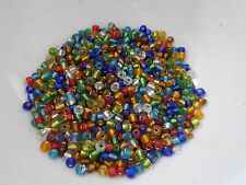 50g 4mm 6/0 Glass Seed Beads - MIXED / ASSORTED Transparent Silver Lined