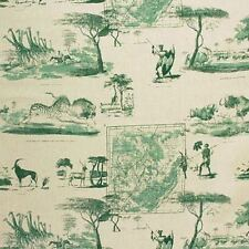 ST. Leger & Viney Wild Sport Southern Africa Toile Jute GREEN Drapery Fabric BTY