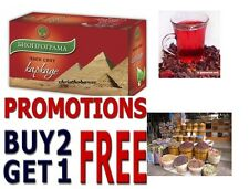 BEST Buy 2 Get 1 FREE HIBISCUS TEA KARKADE 100% Natural Product 20 Tea Bags 30g